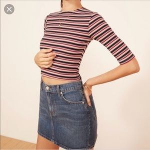 Reformation Size Large Hollywood Stripe Crop Top